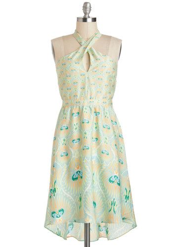 That's Cruise to Me Dress - Long, Mint, Yellow, Green, Blue, Multi, Print, Cutout, Daytime Party, A-line, High-Low Hem, Halter, Beach/Resort, Vintage Inspired