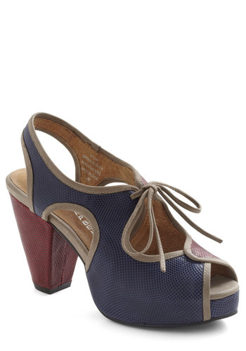 Side By Stride Heel by Jeffrey Campbell - Blue, Red, Solid, Cutout, Lace Up, Peep Toe, Chunky heel, Slingback, Leather, High, Tan / Cream, Work, Colorblocking