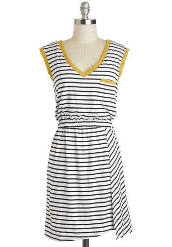 Ready or Yacht Dress - Mid-length, Yellow, Black, White, Stripes, Pockets, Trim, Casual, A-line, Sleeveless, V Neck, Nautical, Travel, Summer