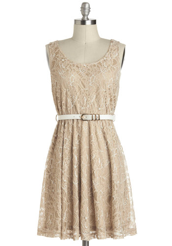 Sweet Cider Dress - Tan, Solid, Backless, Lace, Belted, Casual, A-line, Sheer, Mid-length, Sleeveless, Graduation