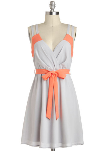 Pop of Coral Dress - Grey, Orange, Belted, Chiffon, Mid-length, Solid, Casual, A-line, Sleeveless, V Neck, Cutout, Daytime Party, Pastel, Colorblocking