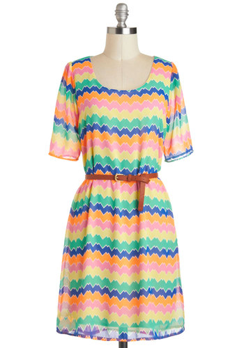 Sneak Peak Dress - Mid-length, Multi, Print, Cutout, Belted, Casual, A-line, Short Sleeves, Statement, Neon