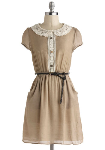 Taupe Floats Dress - Mid-length, Tan, White, Solid, Buttons, Peter Pan Collar, Pockets, Belted, Casual, A-line, Cap Sleeves, Collared, Crochet