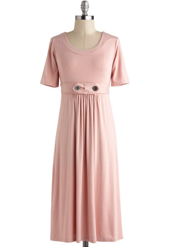 Understated Style Dress in Pink - Long, Pink, Solid, Buttons, Pleats, Casual, Empire, Maxi, Short Sleeves, Minimal, Variation, Pastel