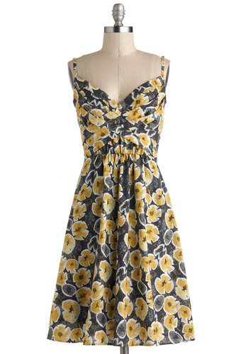 Criss-Crossing Borders Dress in Blossoms - Long, Yellow, Grey, White, Floral, Ruching, Casual, Spaghetti Straps, Sweetheart, Spring, Summer, A-line