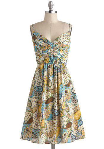 Criss-Crossing Borders Dress in Paisley - Mid-length, Tan, Yellow, Blue, Brown, Multi, Paisley, Ruching, Casual, Spaghetti Straps, Sweetheart, Boho, Spring, A-line