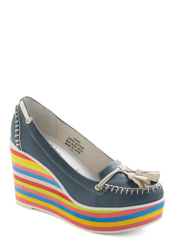 Loafer the Rainbow Wedge by Jeffrey Campbell - Blue, Multi, Solid, Stripes, Tassles, Menswear Inspired, Wedge, Mid, Leather, Vintage Inspired, 60s, 70s, Colorblocking