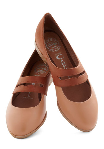 Penny Me In Flat by Jeffrey Campbell - Brown, Tan / Cream, Solid, Leather, Low, Cutout, Work, Casual, Menswear Inspired, Vintage Inspired