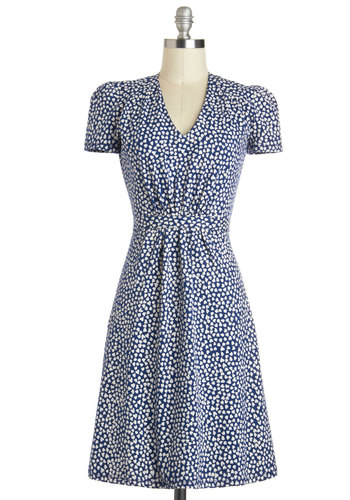 Cutie Doodle Doo Dress In Hearts by People Tree - International Designer, Cotton, Long, Blue, White, Print, Belted, Ruching, Vintage Inspired, A-line, Short Sleeves, V Neck, Casual, 40s, Eco-Friendly, Valentine's