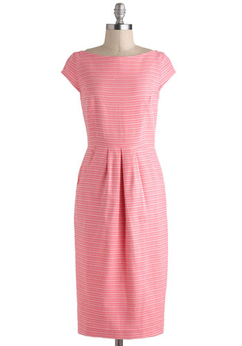 Perfect in Pink Dress by People Tree - International Designer, Cotton, Pink, White, Stripes, Pleats, Pockets, Work, Casual, Sheath / Shift, Cap Sleeves, Boat, Long, Vintage Inspired, 50s, Eco-Friendly