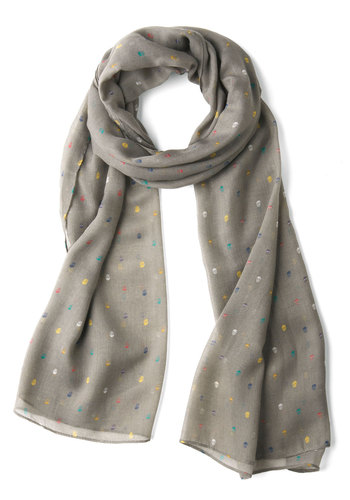 Too Cool for Skull Scarf in Grey - Grey, Multi, Novelty Print, Casual, Urban, Winter, Halloween