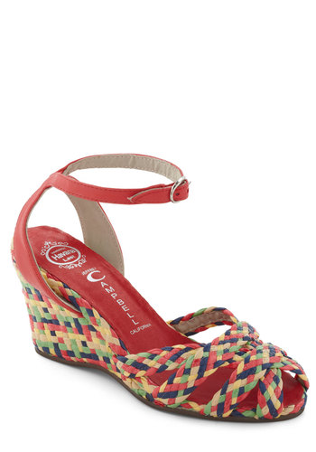 Braid Soul Wedge by Jeffrey Campbell - Multi, Mid, Wedge, Woven, Print, Beach/Resort, Summer