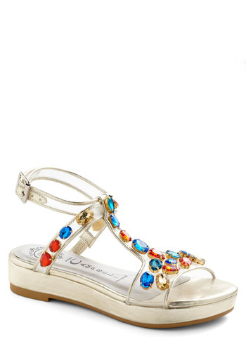 Glow-trotter Sandal by Jeffrey Campbell - Gold, Multi, Solid, Low, Rhinestones, Wedge, Party, Girls Night Out, 80s, Summer