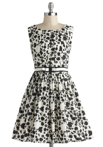 101 Carnations Dress - Black, Floral, Bows, Belted, Party, Vintage Inspired, Sleeveless, Mid-length, White, Fit & Flare, Graduation