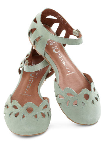 Refresher Course Flat by Jeffrey Campbell - Green, Solid, Cutout, Flat, Leather, Casual, Pastel, Suede