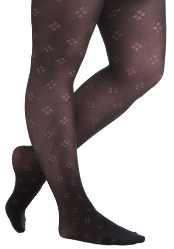 Everyday Gem Tights in Plus Size by Pretty Polly - Black, Print, Party, Work, Cocktail, Girls Night Out, Sheer, International Designer