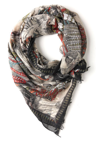 Flight at the Ballet Scarf - Cream, Multi, Print with Animals, Casual, Boho, Top Rated