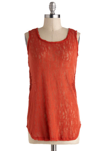 Coffee Cherries Top - Sheer, Mid-length, Red, Solid, Crochet, Lace, Casual, Sleeveless