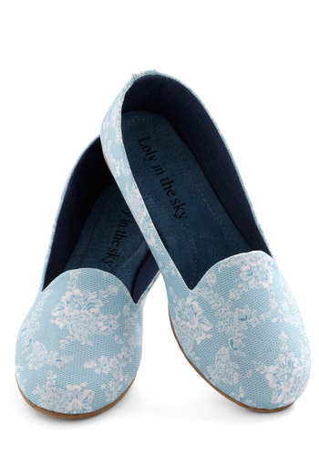 Lady of Leisure Time Flat - Blue, White, Floral, Flat, Menswear Inspired, Leather, Party, Casual, Vintage Inspired, Fairytale, International Designer, Travel
