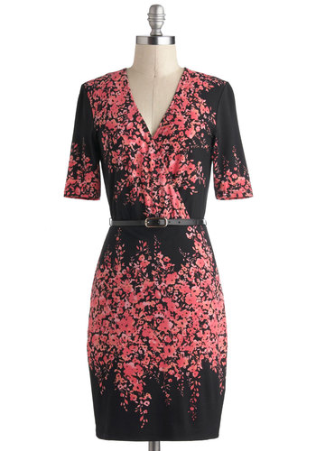 Make a Wisteria Dress by Max and Cleo - Mid-length, Pink, Black, Belted, Work, A-line, Wrap, Short Sleeves, V Neck