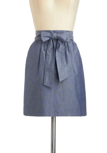 Swing the Blues Skirt - Cotton, Short, Blue, Solid, Pockets, Belted, Casual, Spring
