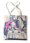 Bookshelf Bandit Tote in Alice by Out of Print - Cotton, Novelty Print, Casual, Fairytale, Scholastic/Collegiate, Tan, Blue, Pink, Statement, Eco-Friendly, Beach/Resort, Work