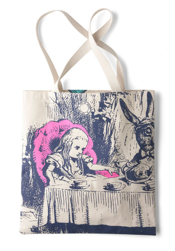 Bookshelf Bandit Tote in Alice by Out of Print - Cotton, Novelty Print, Casual, Fairytale, Scholastic/Collegiate, Tan, Blue, Pink, Statement, Eco-Friendly, Beach/Resort, Work, Best Seller, Gals, Top Rated, Fall, Good, 4th of July Sale