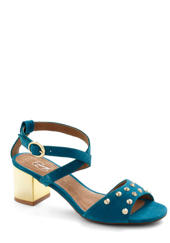 Glam in the Mirror Heel in Teal - Blue, Gold, Solid, Studs, Chunky heel, Mid, Leather, Party, Girls Night Out