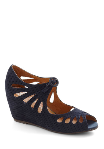 Cutout Cookie Wedge in Blueberry by Jeffrey Campbell - Blue, Solid, Cutout, Mid, Wedge, Peep Toe, Leather, Variation