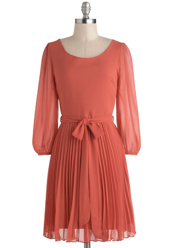 Under The Apple Tree Dress - Mid-length, Coral, Solid, Pleats, Belted, A-line, Work, Long Sleeve