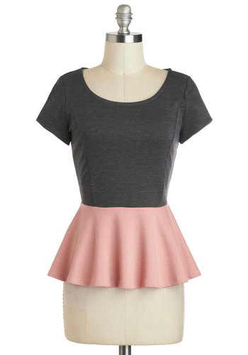Seriously Sweet Top - Mid-length, Pink, Grey, Solid, Cutout, Pastel, Peplum, Short Sleeves, Work