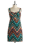 Try This Angle Dress - Mid-length, Multi, Print, Casual, Vintage Inspired, 50s, Bodycon / Bandage, Tank top (2 thick straps), Sweetheart