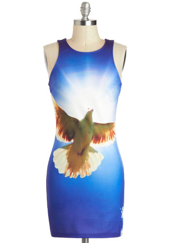 Aspire to Inspire Dress - Blue, Multi, Print with Animals, Statement, Skinny, Sleeveless, Short, Exposed zipper, Party, Girls Night Out