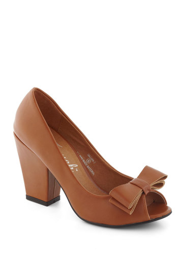 Caramel to Dance Heel - Mid, Brown, Solid, Bows, Work, Vintage Inspired, 50s