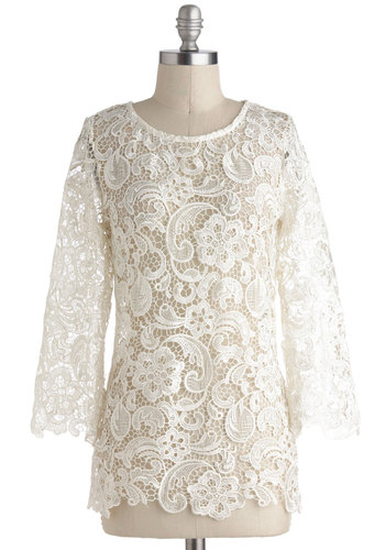 In a Clouded Room Top - Sheer, Mid-length, White, Floral, Buttons, Lace, Boho, Long Sleeve
