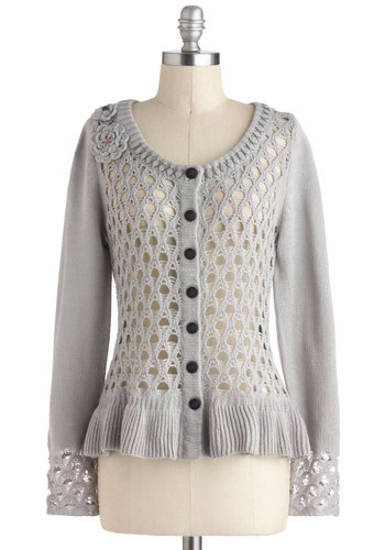 Every Single Detail Cardigan by Nick & Mo - Grey, Buttons, Casual, Long Sleeve, Mid-length, Crochet, Flower