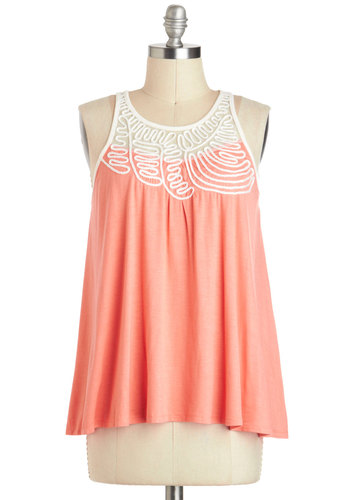 Cute to the Coral Top - Sheer, Mid-length, Coral, White, Solid, Casual, Pastel, Sleeveless, Summer, Travel