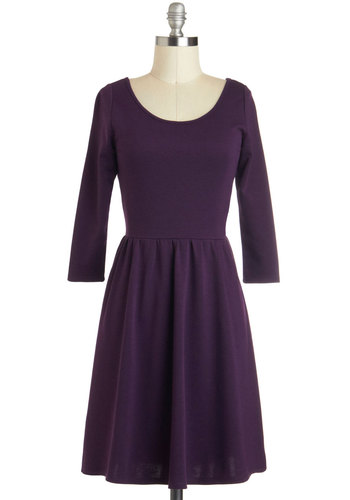 A New Twist Dress - Purple, Solid, Casual, A-line, 3/4 Sleeve, Fall, Mid-length, Cutout, Minimal, Scoop