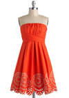 Orange Rush Dress by Ryu - Orange, Tan / Cream, Solid, Eyelet, A-line, Strapless, Mid-length, Cotton, Scallops, Daytime Party, Party