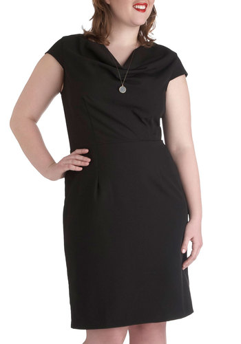 Only the Essential Dress in Plus Size - Black, Solid, Work, Shift, Cap Sleeves, Cowl