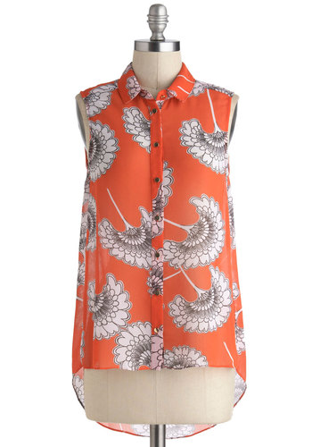 Bouquet Illustrated Top - Red, Buttons, Sleeveless, Collared, Floral, Beach/Resort, Work, Daytime Party, Summer, Mid-length