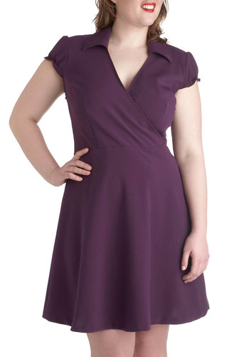 Office We Go Dress in Plus Size - Purple, Solid, Ruffles, Casual, A-line, Wrap, Cap Sleeves, V Neck, Collared, Work, Minimal