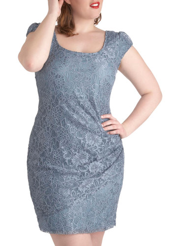 You've Been Mist Dress in Plus Size - Party, Pastel, Cap Sleeves, Blue, Solid, Lace, Ruching, Sheath / Shift, Wedding, Bridesmaid