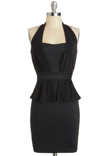 Emerging Starlet Dress - Mid-length, Black, Solid, Cutout, Party, Bodycon / Bandage, Peplum, Girls Night Out, Holiday Party, Halter