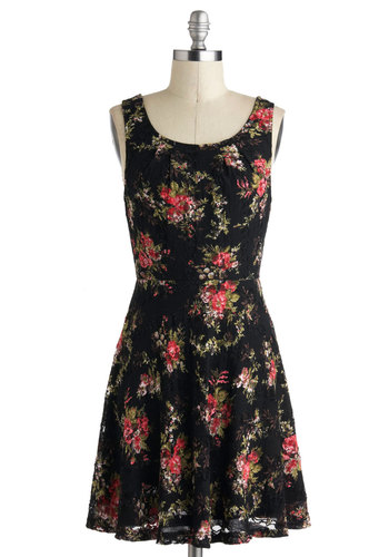 Everlasting Blooms Dress - Mid-length, Black, Red, Green, Floral, Lace, Casual, A-line, Tank top (2 thick straps), Pink