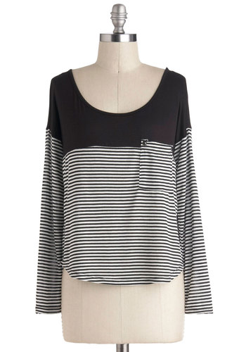 Before and Afternoon Top - Jersey, Black, White, Stripes, Casual, Long Sleeve, Pockets, Scoop, Short, Travel