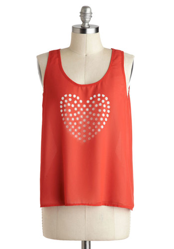 Will You Be Carmine Top - Sheer, Mid-length, Red, Solid, Cutout, Tank top (2 thick straps), Scoop, Summer