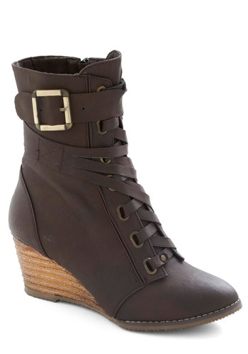 If I Maple Boot - Brown, Buckles, Casual, Solid, Fall, Lace Up, Mid