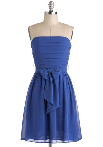 Ultra Marina Dress - Blue, Solid, A-line, Strapless, Wedding, Party, Mid-length, Prom, Belted, Variation, Bridesmaid