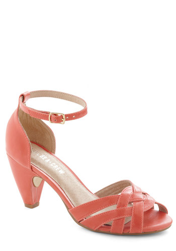 How Could You Not? Heel in Hibiscus by Chelsea Crew - Coral, Solid, Cutout, Woven, Mid, Party, Work, Vintage Inspired, 40s, Variation